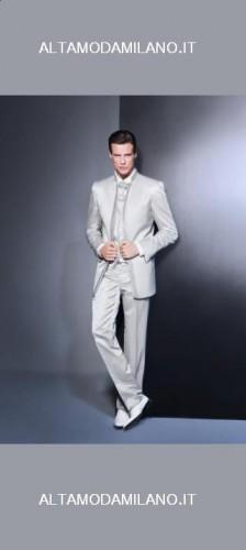 abito da sposo bianco argento